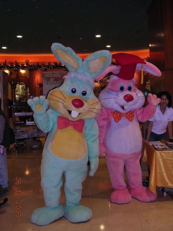 Easter Mascot bunny: birthday parties hong kong childrens shows magic juggling functions birthdays party hong kong 生日會派對、小丑、扭汽球、雜耍雜技, 舞蹈  遊戲, 小丑扭汽球、雜耍雜技