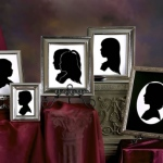 Display of five framed portrait cutout pictures