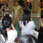 Living statue at a tennis themed event in New Town Plaza Sha tin and capturing the attention of mall patrons.