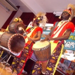 Performing with their selection of drums brought in from Africa in their hand made original wears from African