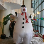 Our snowman performing for guests at a Christmas party in Hong Kong.