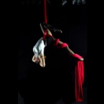 Female aerial performer hangs in midair by  wrapping herself around in silk clothes.