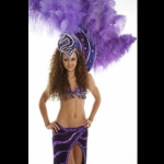 With different costume options - Purple Samba costume.