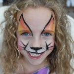 Children face with fox face painting