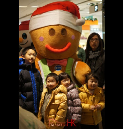 Gingerbread Mascot walking around in shopping center in Hong Kong for shopper