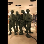 Toy soldiers performing at a flagship store opening launch in Hong Kong for I.T in Hysan Place.