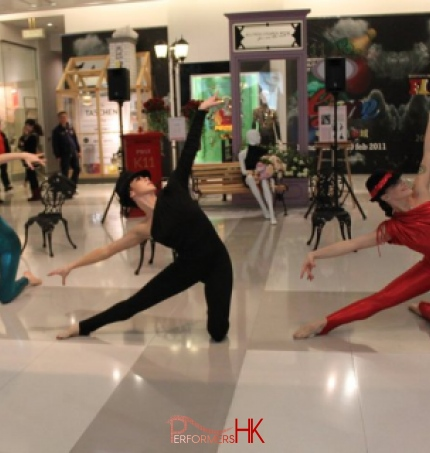 dancers spandex performing modern dance routine