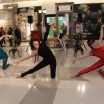 Modern dance performance with 3 dancers at K11 mall in Tsim Tsa Tsui.