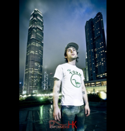 DJ Enzo and skyscrapers in Hong Kong promo shot