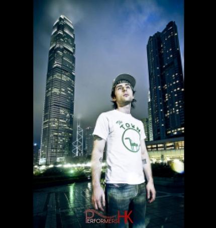 DJ Enzo and skyscrapers in Hong Kong promo shot