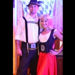 German dance dancers looking prepared for their performance at the Jockey Club Oktoberfest event.