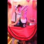 Dancers pose in their simple yet elegant costumes at Oktoberfest at the Jockey Club Hong Kong.