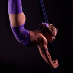 One of the many challenging moves by an aerial performer.