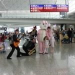 Easter parade at the Hong Kong airport , with Grooves, bunny girl and bunny mascot.
