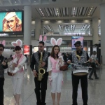 Easter Grooves with the Eater bunny at the Hong Kong airport.