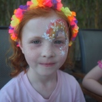 A rainbow face paint.