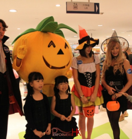Hong Kong Models wear Halloween costume roving and taking picture with the guest at a shopping mall event