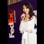 MC Sharika at a FedEx Express event.