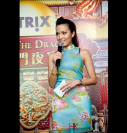 MC Sharika in traditional Chinese Qipao