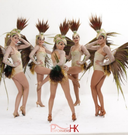 5 Dancers dress in feather costumes