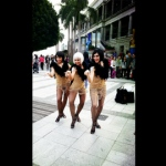 Our Burlesque dancers at Stanley Plaza event in gold costumes.