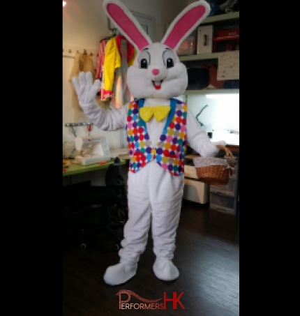 A costume make Easter Bunny mascot for a corporate Easter event