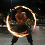 Fire Poi performance.