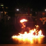 Fire performance at Ocean park Halloween event.