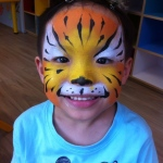 Tiger face paint.