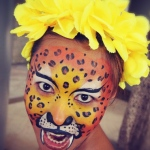 Leopard face painting.