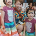 Genie showing off her amazing face painting skills in cyberport Hong Kong.