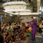 Performing his cut the rope magic trick for children at the Marriott Hotel in Hong Kong.