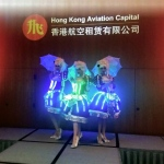 Maries Marionette dancers with their amazing LED costumes and umbrellas.