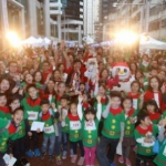 Santa at Swire Properties three-day Christmas street fair in Tai Koo Place, Quarry Bay.