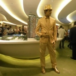 Golden statue performer at a flat sale event in Hung Hom for SHKP.