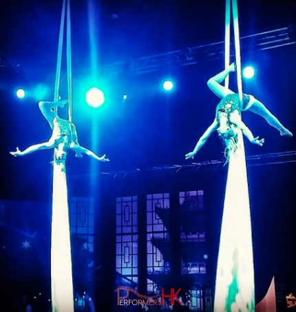 Two Hong Kong. Aerial performing Duo Silk performance at a annual dinner in HKCEC