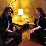 Michael Jackson being interviewed after the show.