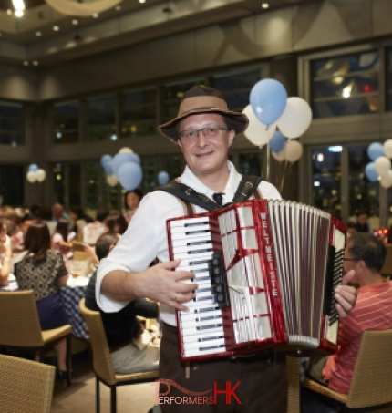 Musician performing Accordion at Hong Kong Happy Valley Jockey Clubhouse
