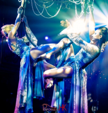 Female aerial chandelier performance in Hong Kong at annual dinner