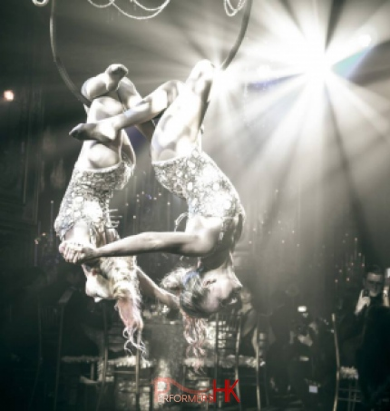 Two HK Aerial Chandelier performer hanged upside down on the grand chandelier pops at a corporate event