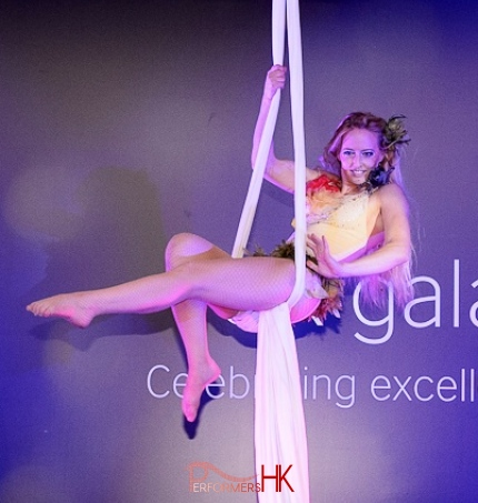 Hong Kong Aerial Solo silk performer performing at a product launch event