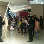 Headless man at Hysan Place launch event drawing big crowds.