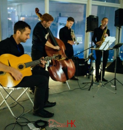 Western 4-piece music band plays in Hong Kong