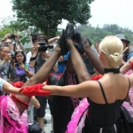 Cancan dancers at Stanley Plaza for Link during Dragon Boat Festival.