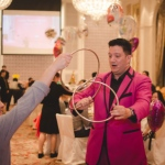 Josay performing three linking rings trick at a children birthday party at Hong Kong Aberdeen marina.