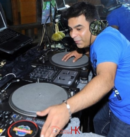 DJ V playing Bollywood, Bhangra and English pop music