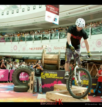 A Trial Bike performer performing at a shopping mall summer event in Hong Kong