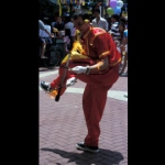 Fire devil stick performance by Funny Benn.