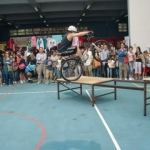 Professional Trial Bike performer doing a series breathtaking action