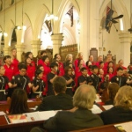 Performing at the church.